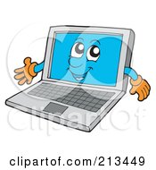 Royalty Free RF Clipart Illustration Of A Laptop Character Presenting by visekart