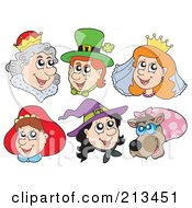 Royalty Free RF Clipart Illustration Of A Digital Collage Of Fairy Tale People Faces by visekart