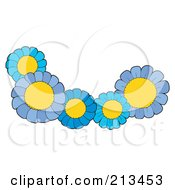 Royalty Free RF Clipart Illustration Of A Group Of Five Blue Flowers