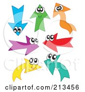 Royalty Free RF Clipart Illustration Of A Digital Collage Of Colorful Arrow Characters