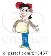 Royalty Free RF Clipart Illustration Of A Boy Carrying A Parcel by visekart