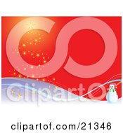 Clipart Illustration Of A Snowman Wearing A Santa Hat On A Snowy Hill Near A Chrismas Tree Formed Of Lights