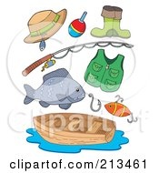 Royalty Free RF Clipart Illustration Of A Digital Collage Of Fishing Gear by visekart