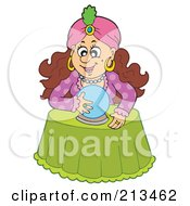 Royalty Free RF Clipart Illustration Of A Brunette Fortune Teller With Her Crystal Ball