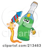 Champagne Bottle Character With A Firework