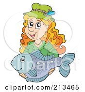 Royalty Free RF Clipart Illustration Of A Happy Woman Holding Her Caught Fish by visekart