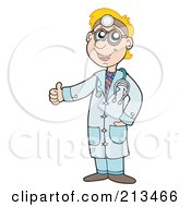 Royalty Free RF Clipart Illustration Of A Young Blond Doctor Holding A Thumb Up by visekart