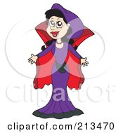 Royalty Free RF Clipart Illustration Of A Female Vampire In A Red And Purple Dress