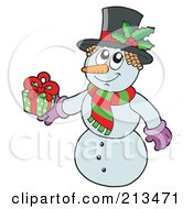 Royalty Free RF Clipart Illustration Of A Wintry Snowman In Holly Hat Holding A Gift