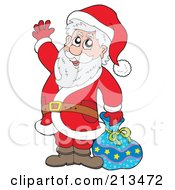 Royalty Free RF Clipart Illustration Of A Cartoon Santa By A Blue Bag