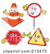 Royalty Free RF Clipart Illustration Of A Digital Collage Of Four Sign Characters