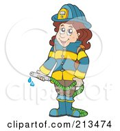 Royalty Free RF Clipart Illustration Of A Fire Woman Holding A Hose by visekart