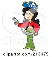 Royalty Free RF Clipart Illustration Of A Pirate Lady Holding A Pistol And Sword