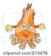 Royalty Free RF Clipart Illustration Of A Dangerous Campife Over Logs by visekart