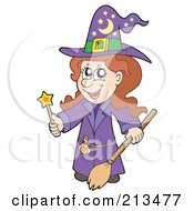 Royalty Free RF Clipart Illustration Of A Cute Halloween Female Wizard In Purple Holding A Wand And Broom by visekart
