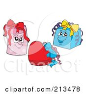 Royalty Free RF Clipart Illustration Of A Digital Collage Of Three Gift Boxes