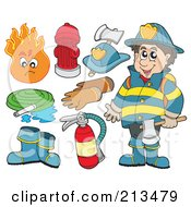 Royalty Free RF Clipart Illustration Of A Digital Collage Of A Fireman And Items by visekart