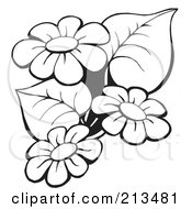 Royalty Free RF Clipart Illustration Of An Outline Of Black And White Flowers