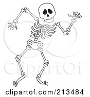 Royalty Free RF Clipart Illustration Of An Outline Dancing Skeleton