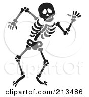 Royalty Free RF Clipart Illustration Of A Black Dancing Skeleton