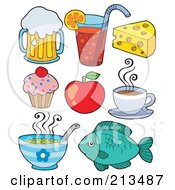 Royalty Free RF Clipart Illustration Of A Digital Collage Of Food Items 1 by visekart