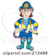 Royalty Free RF Clipart Illustration Of A Fireman With A Hose And Axe