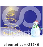 Happy Snowman Near A Christmas Tree Made Of Lights On A Snowy Hill