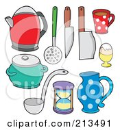Royalty Free RF Clipart Illustration Of A Digital Collage Of Kitchen Items 2 by visekart