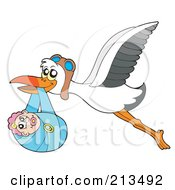 Royalty Free RF Clipart Illustration Of A Stork With Goggles Carrying A Baby