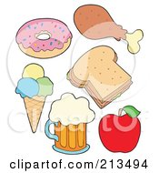 Royalty Free RF Clipart Illustration Of A Digital Collage Of Food Items 2 by visekart