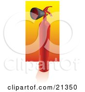 Clipart Illustration Of A Red Tall Fire Extinguisher With A Nozzle Resting On A Reflective White Surface