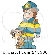 Royalty Free RF Clipart Illustration Of A Fireman With A Dog by visekart