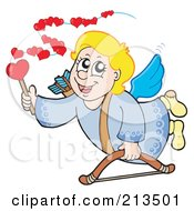 Royalty Free RF Clipart Illustration Of A Blond Eros Cupid Using A Wand To Spread Love by visekart