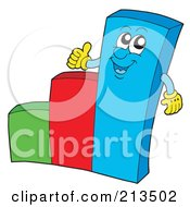 Royalty Free RF Clipart Illustration Of A Happy Bar Graph Character Holding A Thumb Up