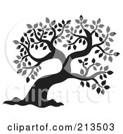Royalty Free RF Clipart Illustration Of A Black And White Silhouetted Leafy Tree Design 1