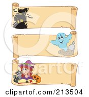 Royalty Free RF Clipart Illustration Of A Digital Collage Of Three Halloween Parchment Banners 3