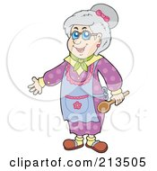 Royalty Free RF Clipart Illustration Of A Happy Granny Holding A Spoon by visekart