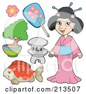 Royalty Free RF Clipart Illustration Of A Digital Collage Of A Japanese Woman And Items