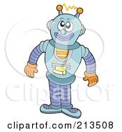 Royalty Free RF Clipart Illustration Of A Happy Robot Printing A Document by visekart