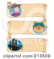 Royalty Free RF Clipart Illustration Of A Digital Collage Of Three Halloween Parchment Banners 5