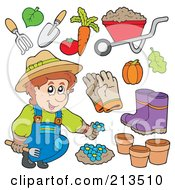 Royalty Free RF Clipart Illustration Of A Digital Collage Of A Gardener With Plants And Tools