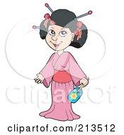 Pretty Geisha In A Pink Kimono