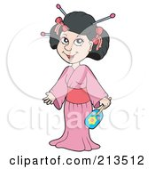 Royalty Free RF Clipart Illustration Of A Pretty Geisha In A Pink Kimono by visekart