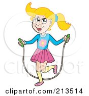 Royalty Free RF Clipart Illustration Of A Blond Girl Using A Jump Rope