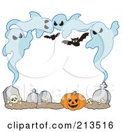 Royalty Free RF Clipart Illustration Of A Frame Of Ghosts Bones Tombstones And Pumpkins Around White Space by visekart