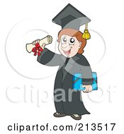 Royalty Free RF Clipart Illustration Of A Male Graduate Holding Up A Diploma by visekart