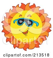 Royalty Free RF Clipart Illustration Of A Summer Time Sun Smiling With Shades 3