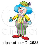 Royalty Free RF Clipart Illustration Of A Cartoon Clown With Big Pants