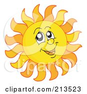 Royalty Free RF Clipart Illustration Of A Summer Time Sun Face