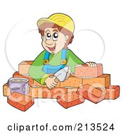 Royalty Free RF Clipart Illustration Of A Happy Bricklayer